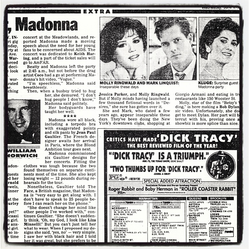 Author Mark Lindquist and actress Molly Ringwald in the New York Post