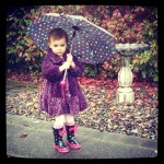 Author Mark Lindquist's daughter Sloane with umbrella